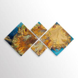 Δύο Κομμένα Ηλιοτρόπια του Βαν Γκογκ, Τετράπτυχος με Ρόμβους