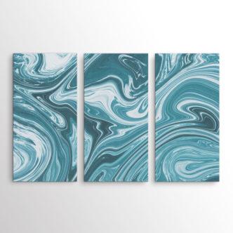 Petrol Swirl, Abstract Τρίπτυχος