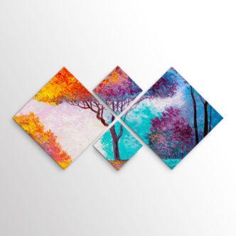 Δέντρο στα Χρώματα του Φθινοπώρου, Τετράπτυχος με Ρόμβους