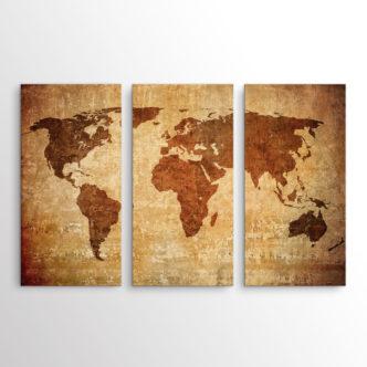 Vintage Παγκόσμιος Χάρτης, Τρίπτυχος