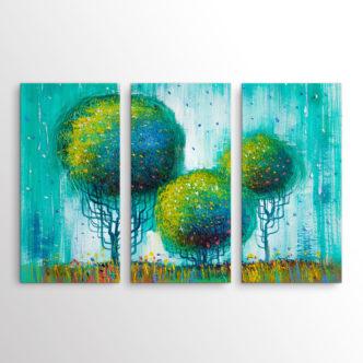 Abstract Τοπίο με Δέντρα σε Πράσινο, Τρίπτυχος