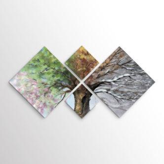 Πίνακας Οι Τέσσερις Εποχές του Δέντρου, Τετράπτυχος με Ρόμβους