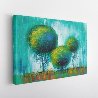 Abstract Τοπίο με Δέντρα σε Πράσινο