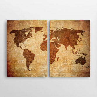 Vintage Παγκόσμιος Χάρτης, Δίπτυχος